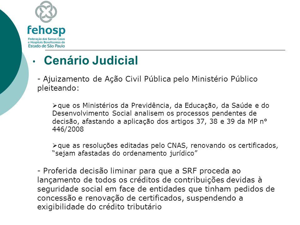 Cenário Judicial - Ajuizamento de Ação Civil Pública pelo Ministério Público pleiteando: que os Ministérios da Previdência, da Educação, da Saúde e do