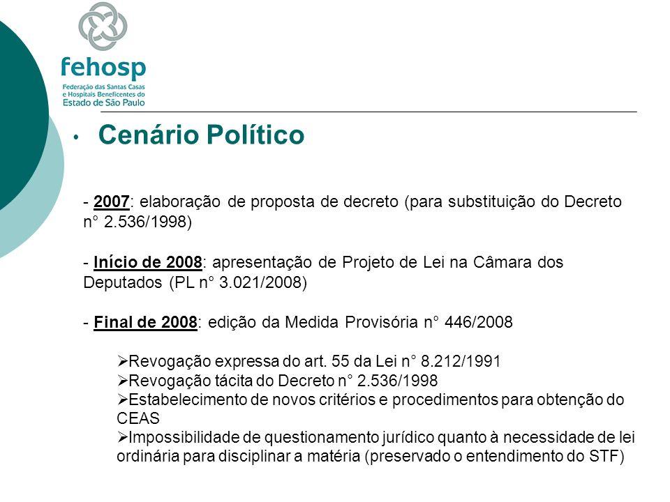 Cenário Político - 2007: elaboração de proposta de decreto (para substituição do Decreto n° 2.536/1998) - Início de 2008: apresentação de Projeto de L