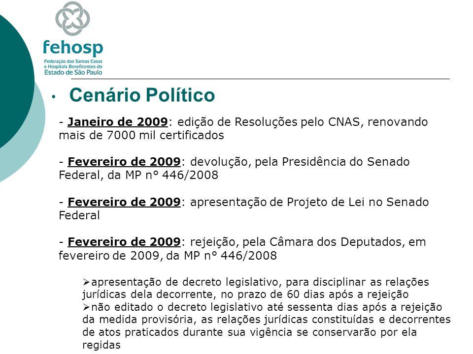 Cenário Político - Janeiro de 2009: edição de Resoluções pelo CNAS, renovando mais de 7000 mil certificados - Fevereiro de 2009: devolução, pela Presi