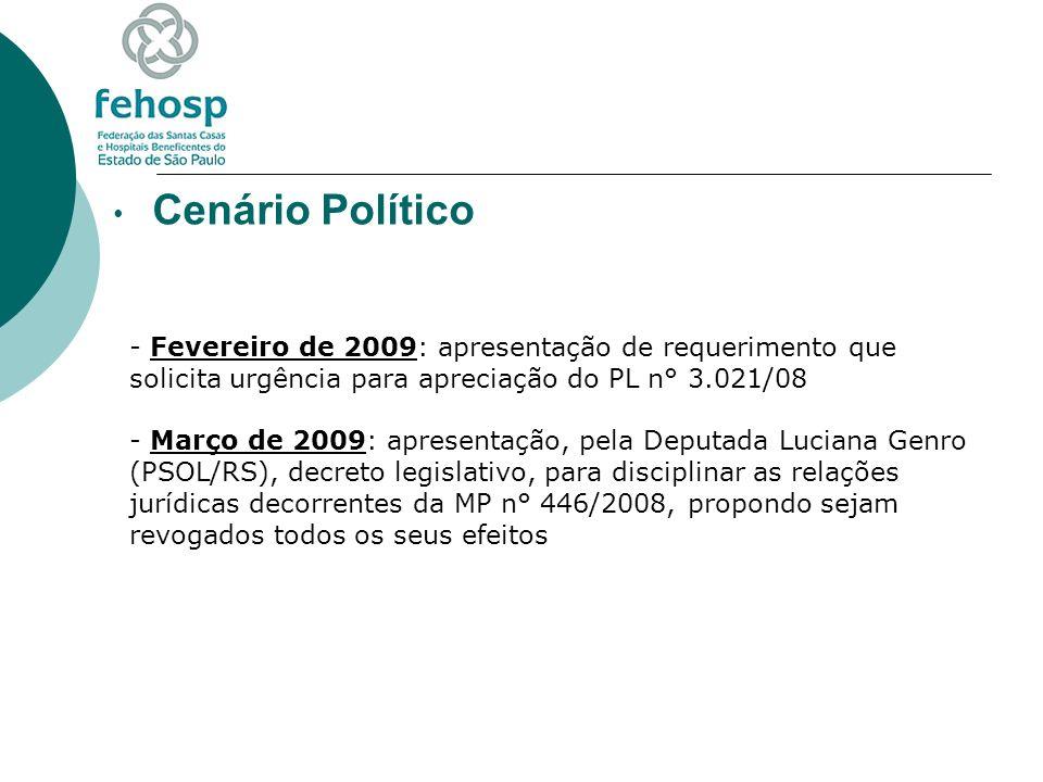 Cenário Político - Fevereiro de 2009: apresentação de requerimento que solicita urgência para apreciação do PL n° 3.021/08 - Março de 2009: apresentaç