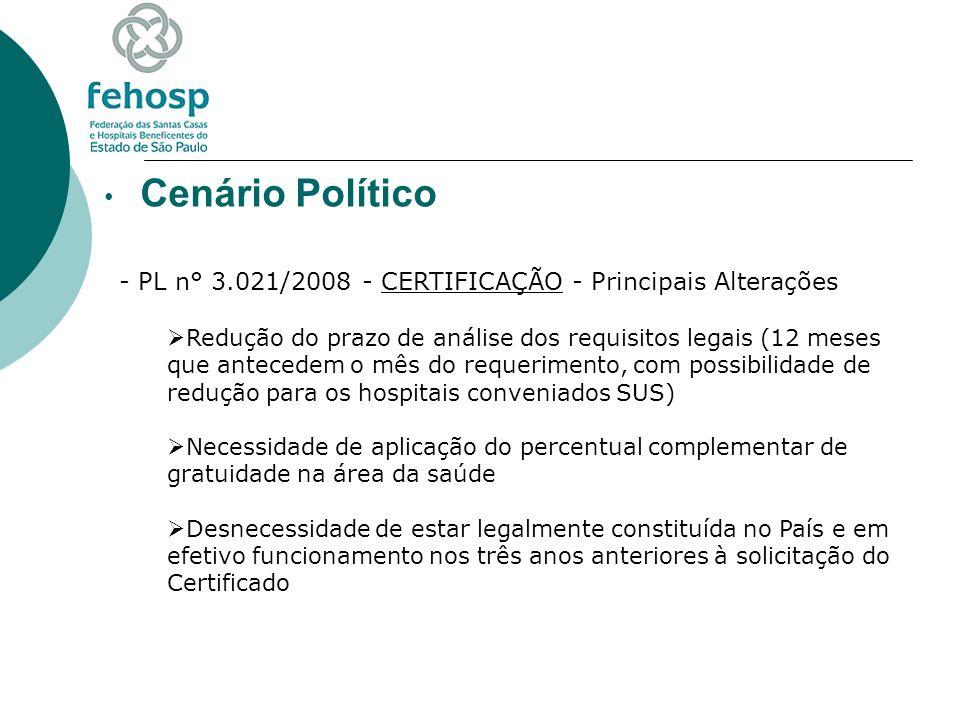 Cenário Político - PL n° 3.021/2008 - CERTIFICAÇÃO - Principais Alterações Redução do prazo de análise dos requisitos legais (12 meses que antecedem o