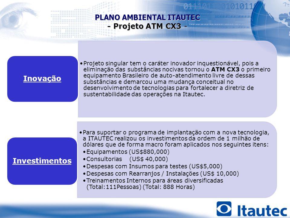 Projeto singular tem o caráter inovador inquestionável, pois a eliminação das substâncias nocivas tornou o ATM CX3 o primeiro equipamento Brasileiro d