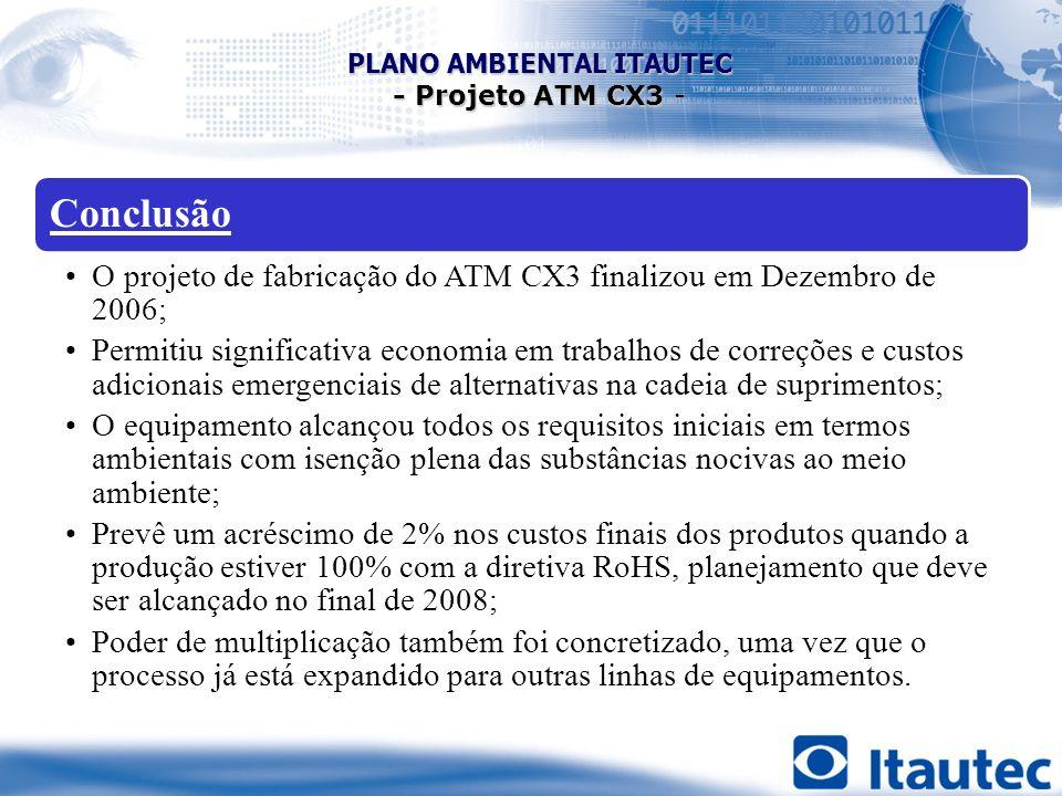 Conclusão O projeto de fabricação do ATM CX3 finalizou em Dezembro de 2006; Permitiu significativa economia em trabalhos de correções e custos adicion