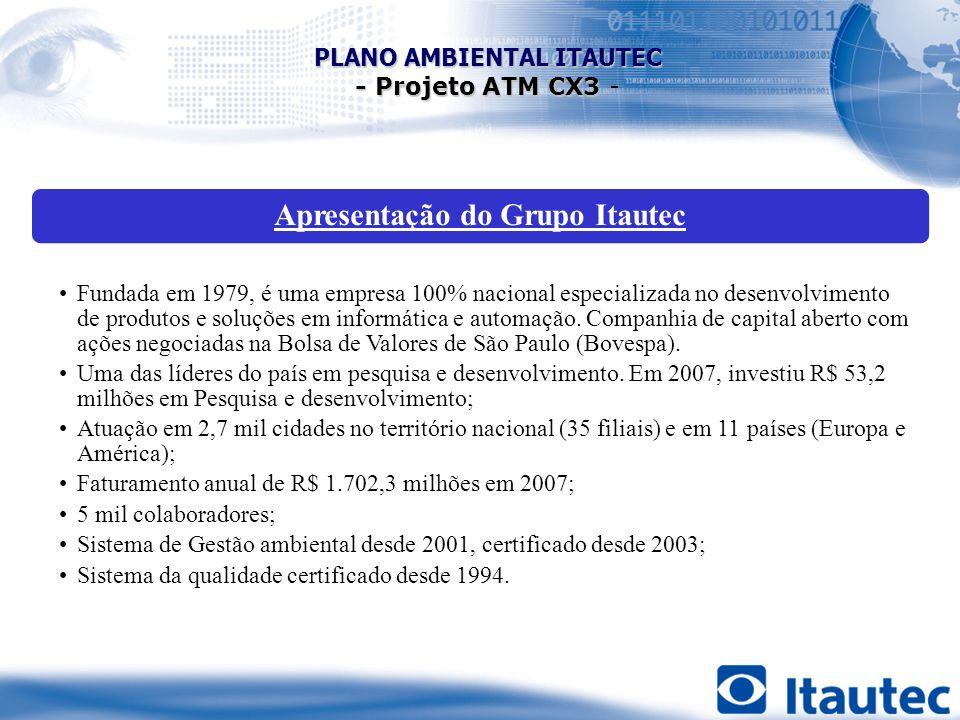Apresentação do Grupo Itautec Fundada em 1979, é uma empresa 100% nacional especializada no desenvolvimento de produtos e soluções em informática e au