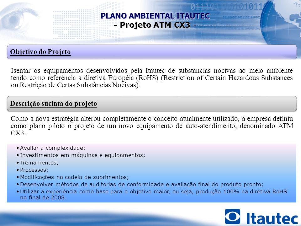 Objetivo do Projeto Isentar os equipamentos desenvolvidos pela Itautec de substâncias nocivas ao meio ambiente tendo como referência a diretiva Europé