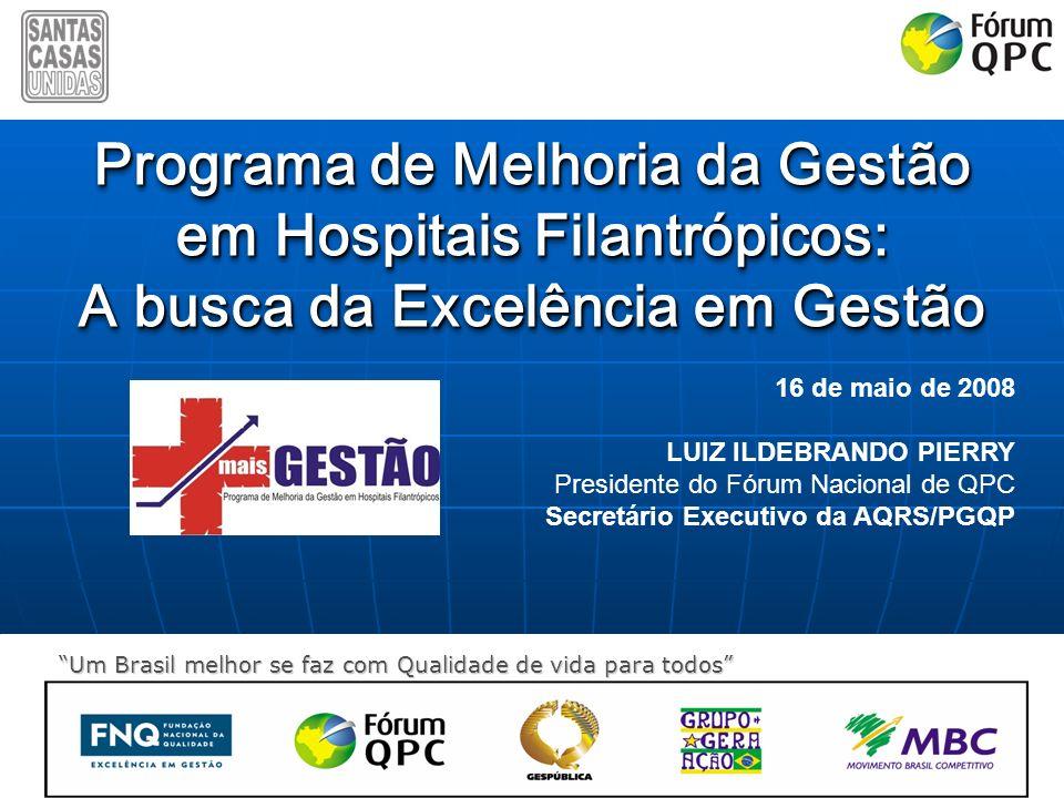 Um Brasil melhor se faz com Qualidade de vida para todos Programa de Melhoria da Gestão em Hospitais Filantrópicos: A busca da Excelência em Gestão Pr