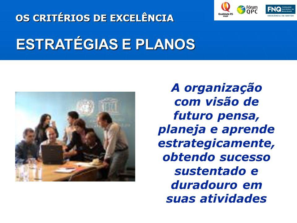 ESTRATÉGIAS E PLANOS OS CRITÉRIOS DE EXCELÊNCIA A organização com visão de futuro pensa, planeja e aprende estrategicamente, obtendo sucesso sustentad