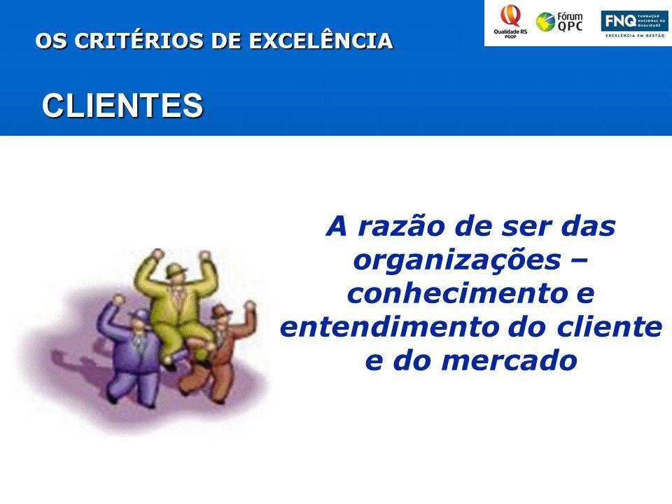OS CRITÉRIOS DE EXCELÊNCIA CLIENTES A razão de ser das organizações – conhecimento e entendimento do cliente e do mercado