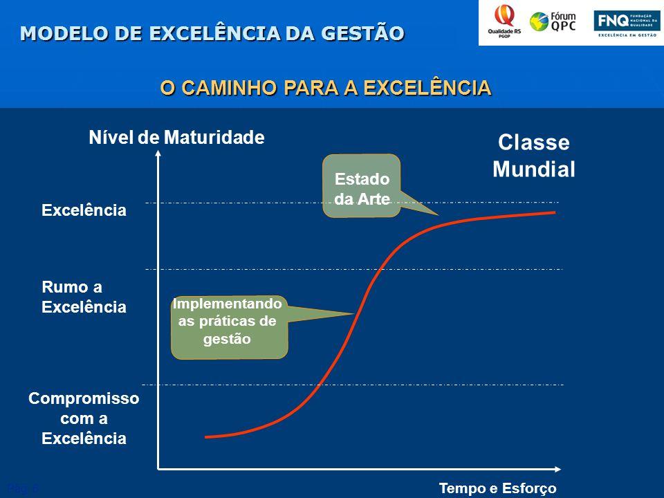 Tempo e Esforço Nível de Maturidade Classe Mundial Excelência Compromisso com a Excelência Rumo a Excelência Implementando as práticas de gestão Estad