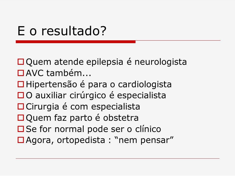 E o resultado? Quem atende epilepsia é neurologista AVC também... Hipertensão é para o cardiologista O auxiliar cirúrgico é especialista Cirurgia é co