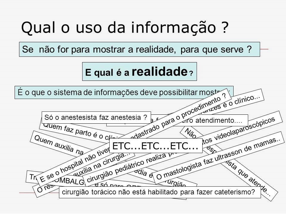 Qual o uso da informação ? Se não for para mostrar a realidade, para que serve ? E qual é a realidade ? É o que o sistema de informações deve possibil
