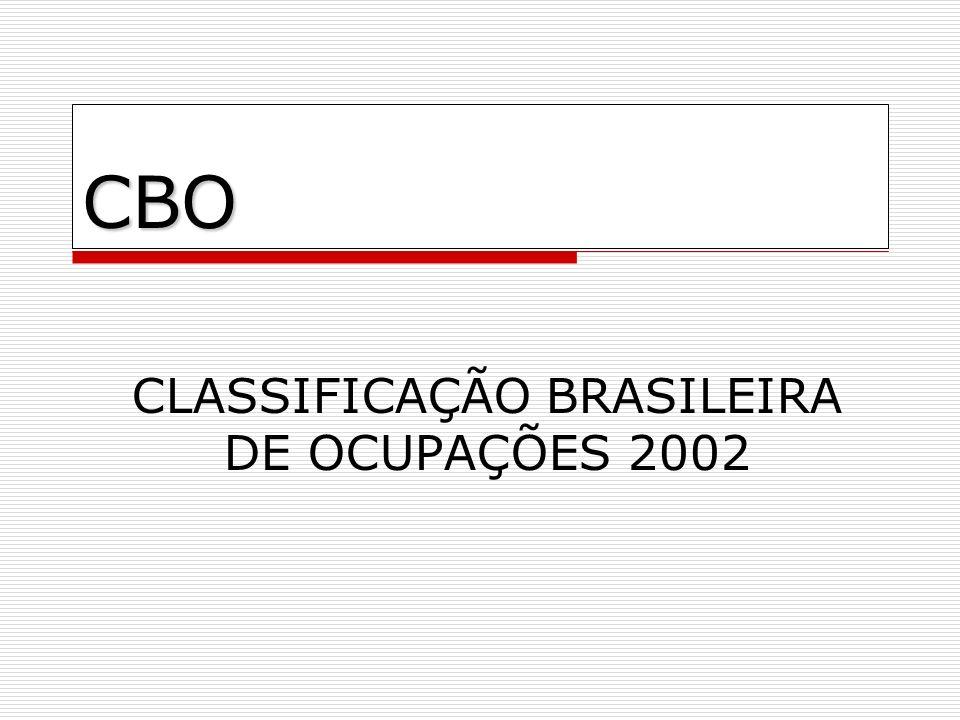 CBO CLASSIFICAÇÃO BRASILEIRA DE OCUPAÇÕES 2002