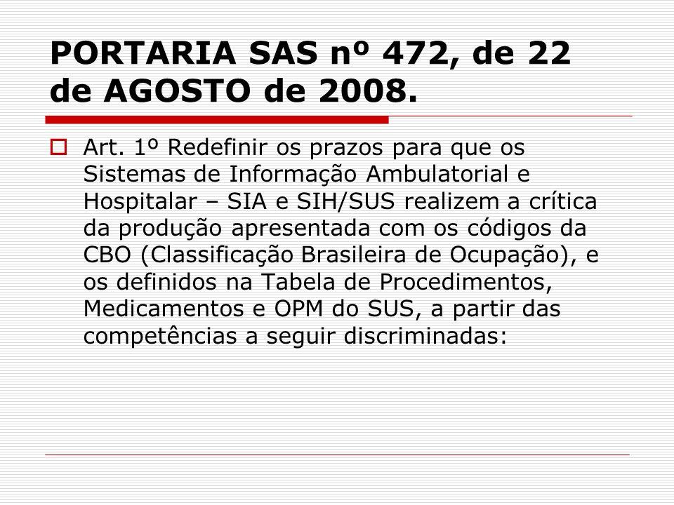 PORTARIA SAS nº 472, de 22 de AGOSTO de 2008. Art. 1º Redefinir os prazos para que os Sistemas de Informação Ambulatorial e Hospitalar – SIA e SIH/SUS