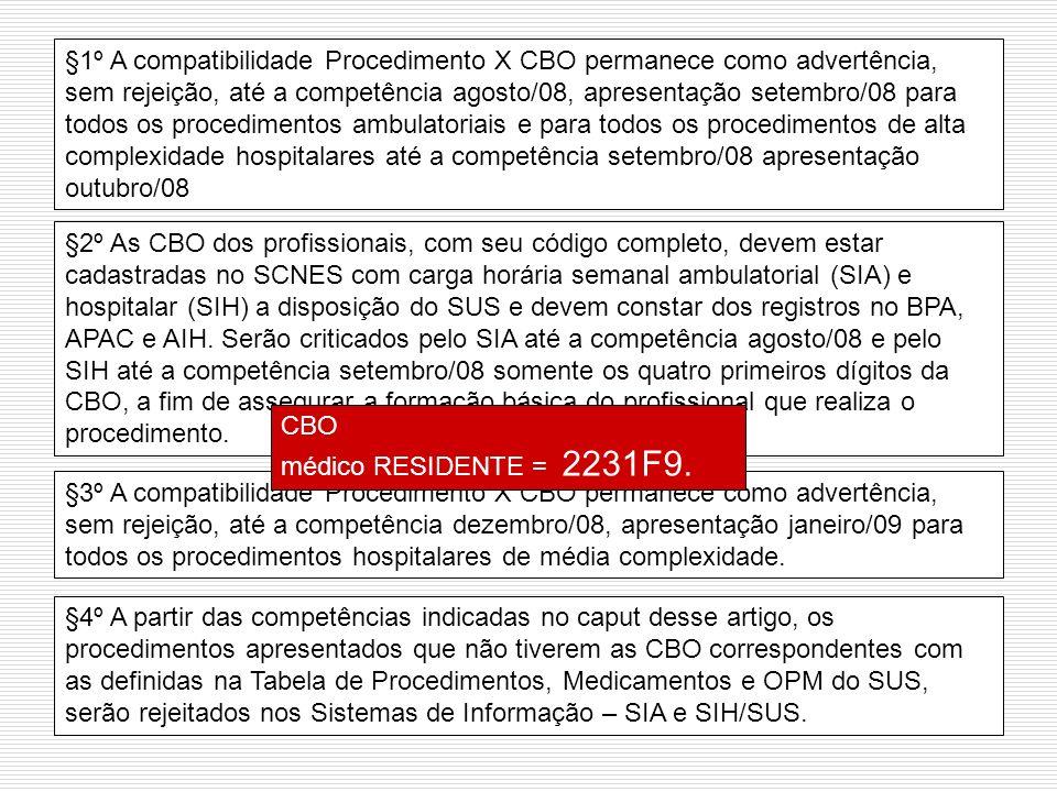§1º A compatibilidade Procedimento X CBO permanece como advertência, sem rejeição, até a competência agosto/08, apresentação setembro/08 para todos os