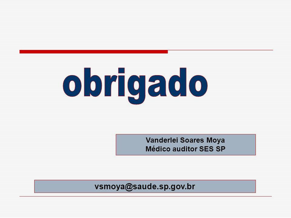 Vanderlei Soares Moya Médico auditor SES SP vsmoya@saude.sp.gov.br