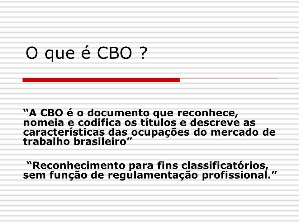O que é CBO ? A CBO é o documento que reconhece, nomeia e codifica os títulos e descreve as características das ocupações do mercado de trabalho brasi