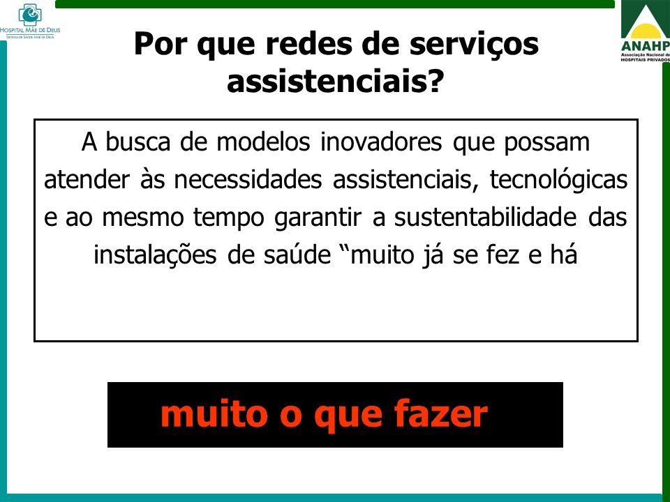FEHOSP - 6 a 8 de maio de 2009 - Campinas - SP Por que redes de serviços assistenciais? A busca de modelos inovadores que possam atender às necessidad