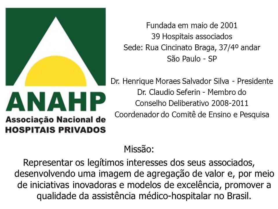 Fundada em maio de 2001 39 Hospitais associados Sede: Rua Cincinato Braga, 37/4º andar São Paulo - SP Dr. Henrique Moraes Salvador Silva - Presidente
