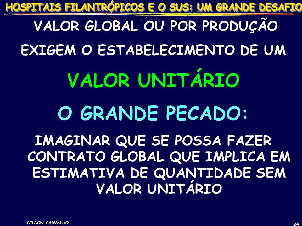 GILSON CARVALHO 24 VALOR GLOBAL OU POR PRODUÇÃO EXIGEM O ESTABELECIMENTO DE UM VALOR UNITÁRIO O GRANDE PECADO: IMAGINAR QUE SE POSSA FAZER CONTRATO GL