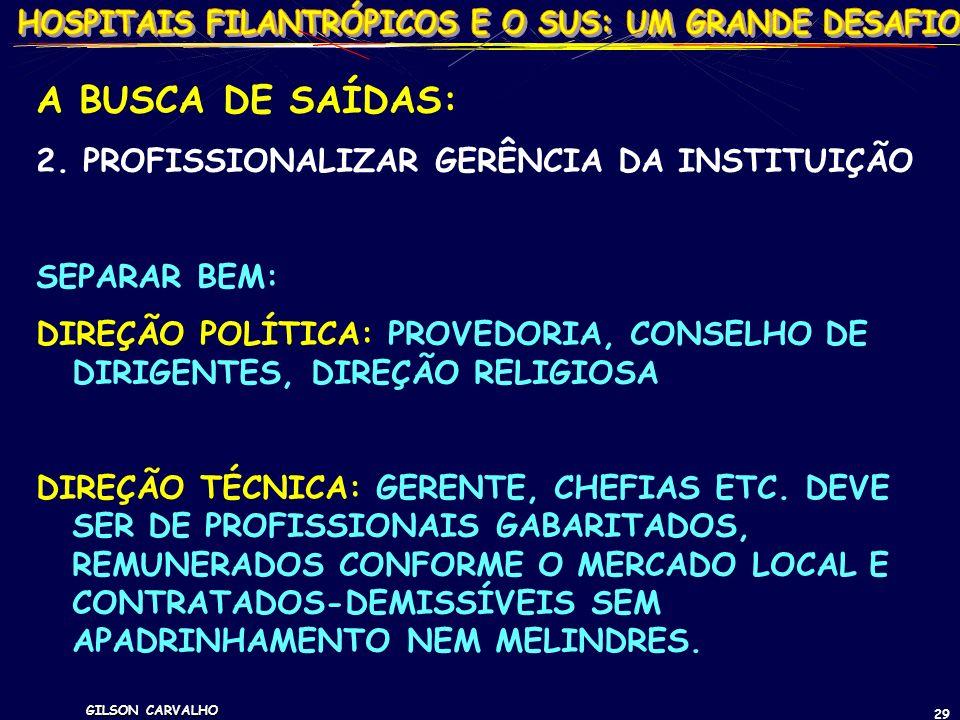 GILSON CARVALHO 29 A BUSCA DE SAÍDAS: 2. PROFISSIONALIZAR GERÊNCIA DA INSTITUIÇÃO SEPARAR BEM: DIREÇÃO POLÍTICA: PROVEDORIA, CONSELHO DE DIRIGENTES, D
