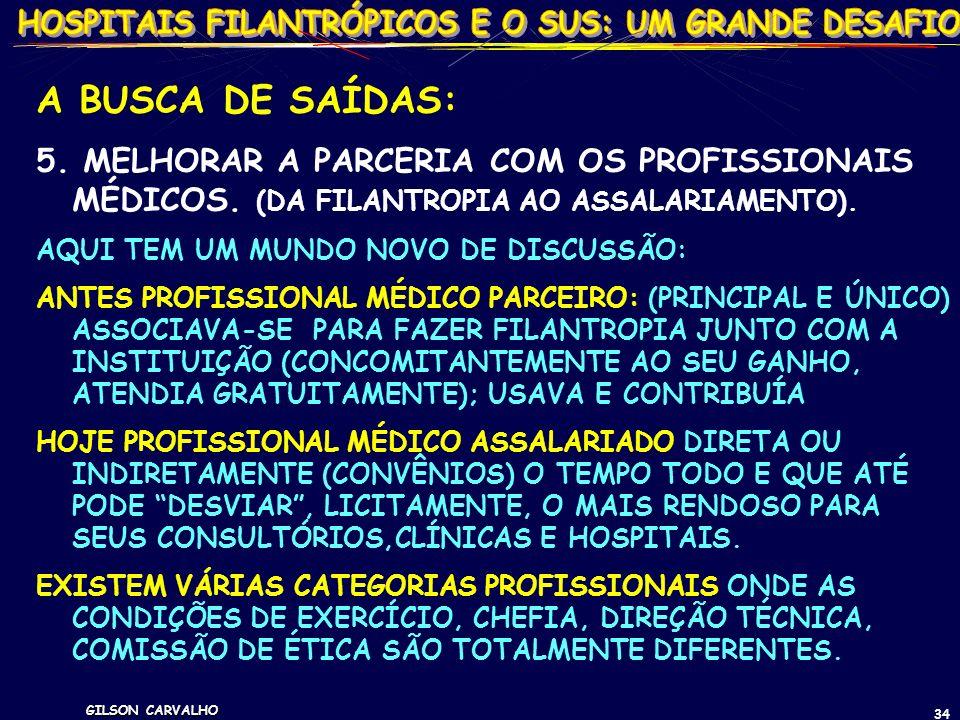 GILSON CARVALHO 34 A BUSCA DE SAÍDAS: 5. MELHORAR A PARCERIA COM OS PROFISSIONAIS MÉDICOS. (DA FILANTROPIA AO ASSALARIAMENTO). AQUI TEM UM MUNDO NOVO
