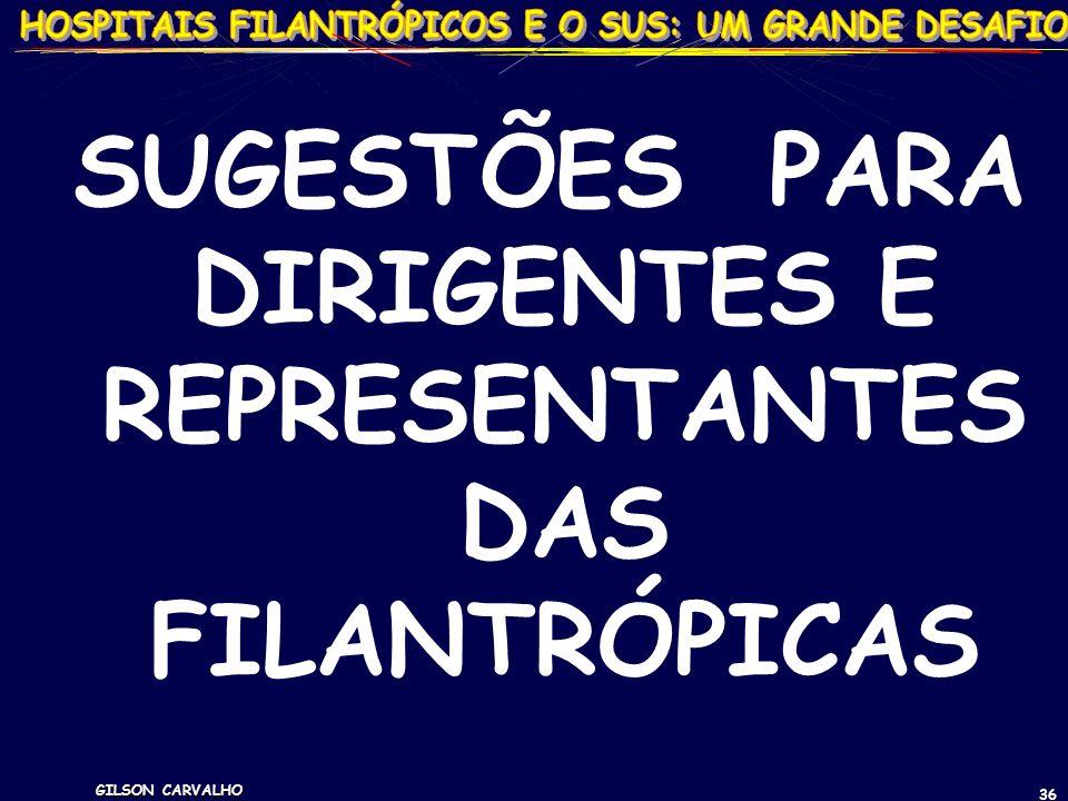 GILSON CARVALHO 36 SUGESTÕES PARA DIRIGENTES E REPRESENTANTES DAS FILANTRÓPICAS