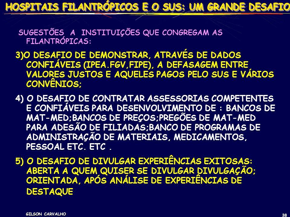 GILSON CARVALHO 38 SUGESTÕES A INSTITUIÇÕES QUE CONGREGAM AS FILANTRÓPICAS: 3)O DESAFIO DE DEMONSTRAR, ATRAVÉS DE DADOS CONFIÁVEIS (IPEA.FGV,FIPE), A