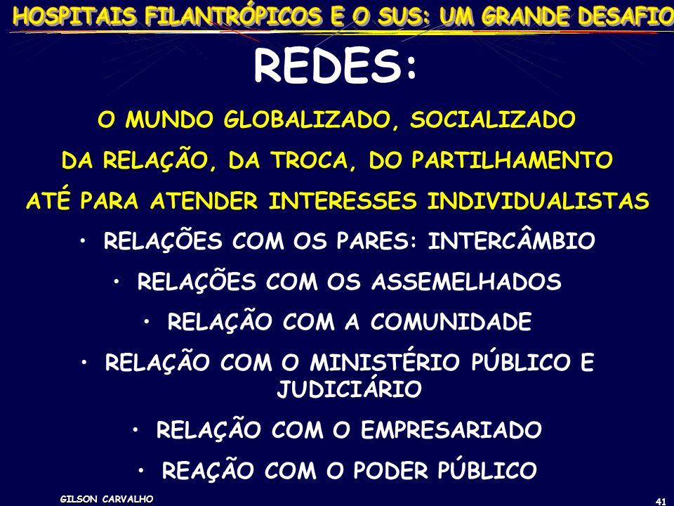 GILSON CARVALHO 41 REDES: O MUNDO GLOBALIZADO, SOCIALIZADO DA RELAÇÃO, DA TROCA, DO PARTILHAMENTO ATÉ PARA ATENDER INTERESSES INDIVIDUALISTAS RELAÇÕES