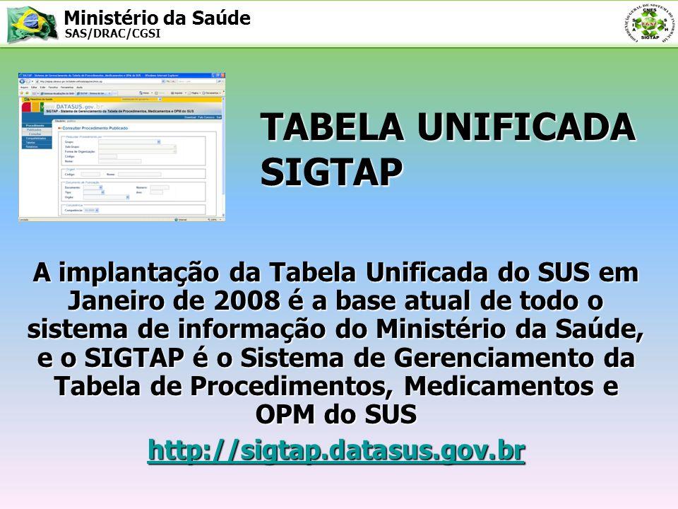 Ministério da Saúde SAS/DRAC/CGSI TABELA UNIFICADA SIGTAP A implantação da Tabela Unificada do SUS em Janeiro de 2008 é a base atual de todo o sistema