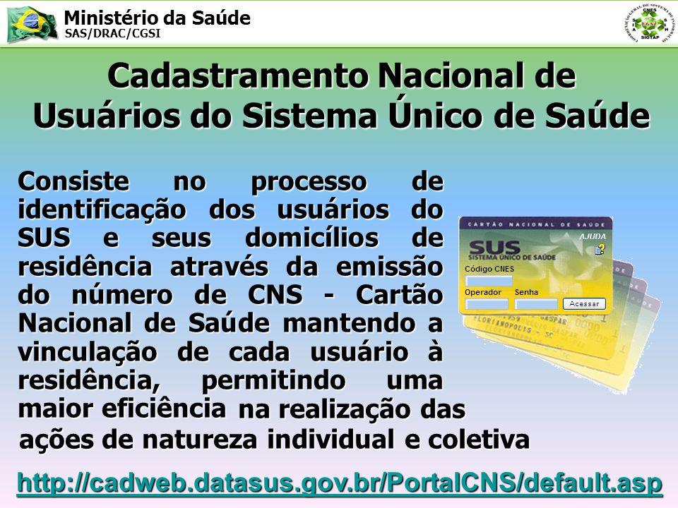 Ministério da Saúde SAS/DRAC/CGSI Cadastramento Nacional de Usuários do Sistema Único de Saúde Consiste no processo de identificação dos usuários do S