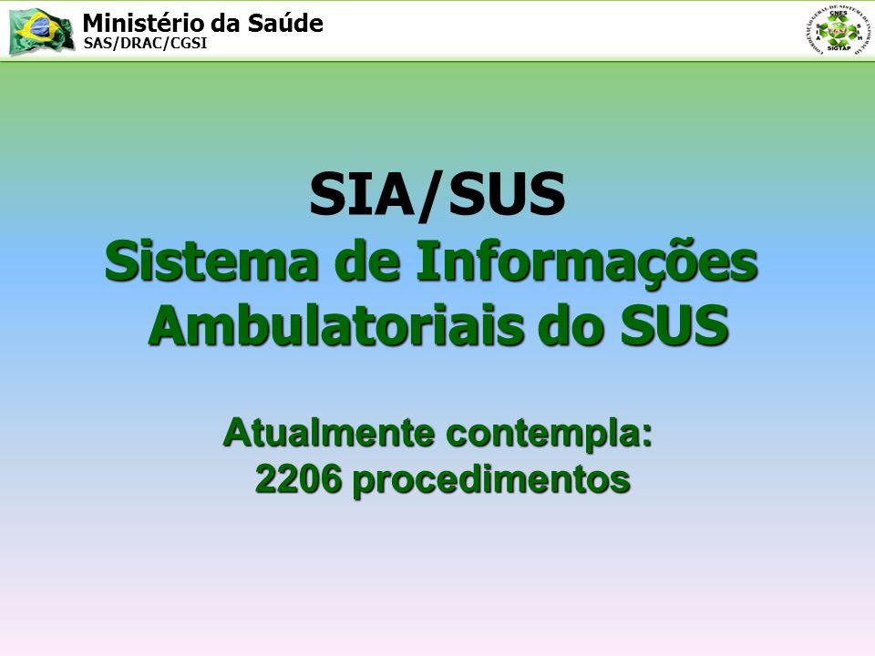 Ministério da Saúde SAS/DRAC/CGSI SIA/SUS HISTÓRICO DO SIA 1993 – IMPLANTAÇÃO DADOS CONSOLIDADOS 1998 – IMPLANTAÇAÕ DAS APAC 2006 – IMPLANTAÇÃO NOVA FPO( PORTARIA SAS/MS N.