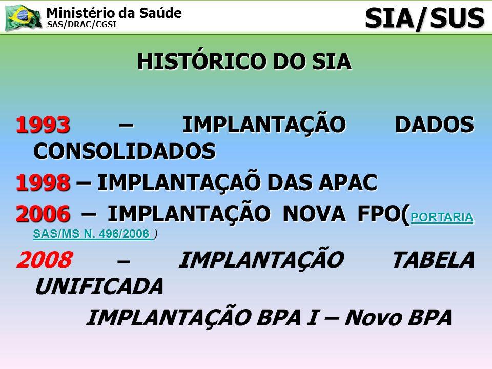 Ministério da Saúde SAS/DRAC/CGSI TABELA UNIFICADA SIGTAP A implantação da Tabela Unificada do SUS em Janeiro de 2008 é a base atual de todo o sistema de informação do Ministério da Saúde, e o SIGTAP é o Sistema de Gerenciamento da Tabela de Procedimentos, Medicamentos e OPM do SUS http://sigtap.datasus.gov.br