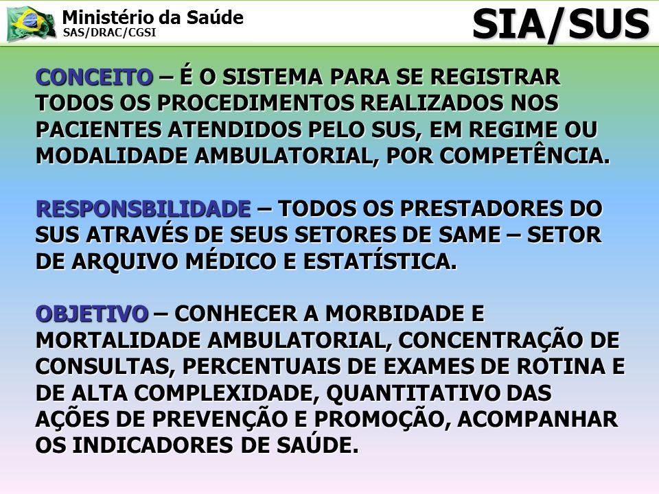 Ministério da Saúde SAS/DRAC/CGSI CONCEITO – É O SISTEMA PARA SE REGISTRAR TODOS OS PROCEDIMENTOS REALIZADOS NOS PACIENTES ATENDIDOS PELO SUS, EM REGI