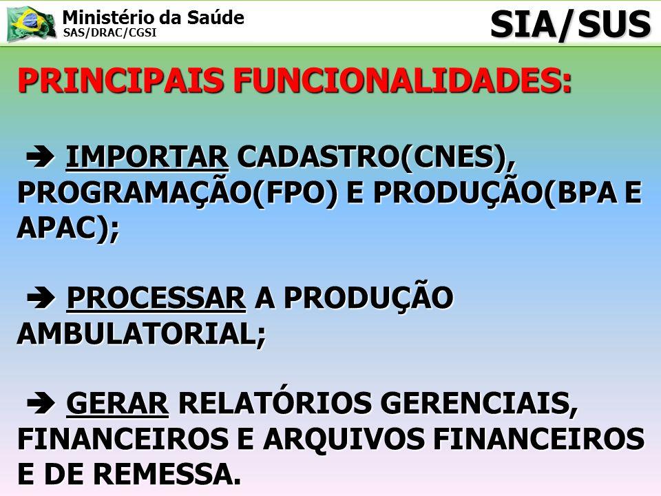 Ministério da Saúde SAS/DRAC/CGSI SIA/SUS PRINCIPAIS FUNCIONALIDADES: IMPORTAR CADASTRO(CNES), PROGRAMAÇÃO(FPO) E PRODUÇÃO(BPA E APAC); IMPORTAR CADAS