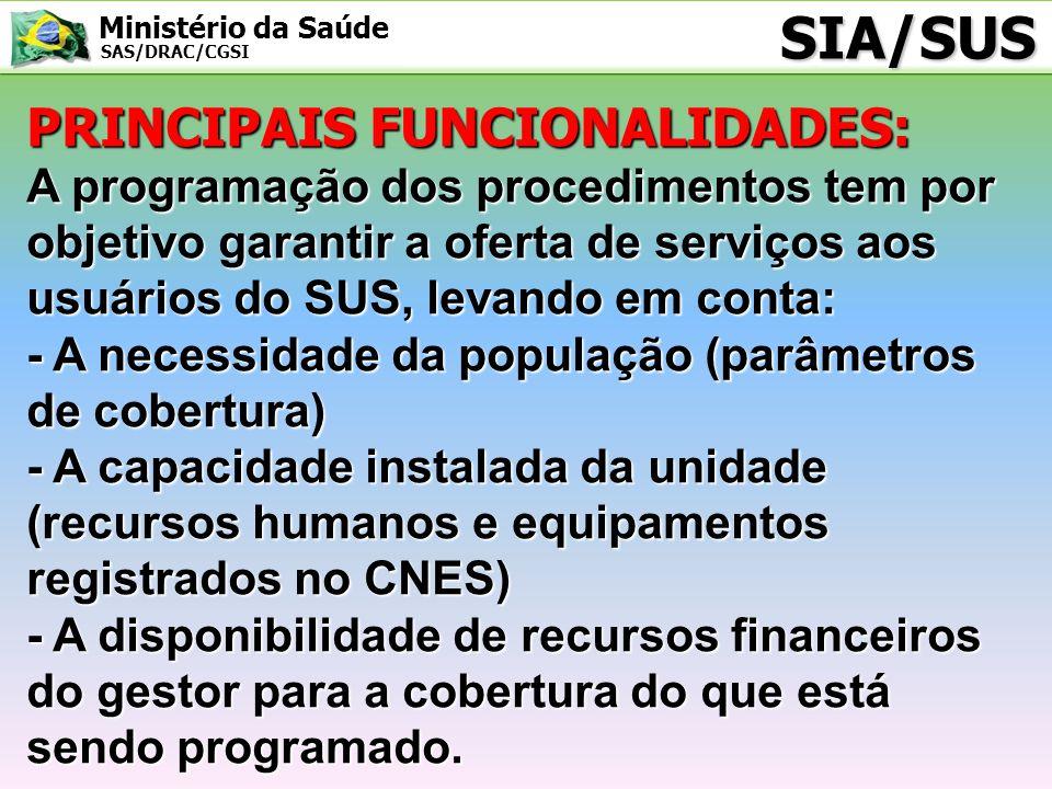 Ministério da Saúde SAS/DRAC/CGSI SIA/SUS PRINCIPAIS FUNCIONALIDADES: A programação dos procedimentos tem por objetivo garantir a oferta de serviços a