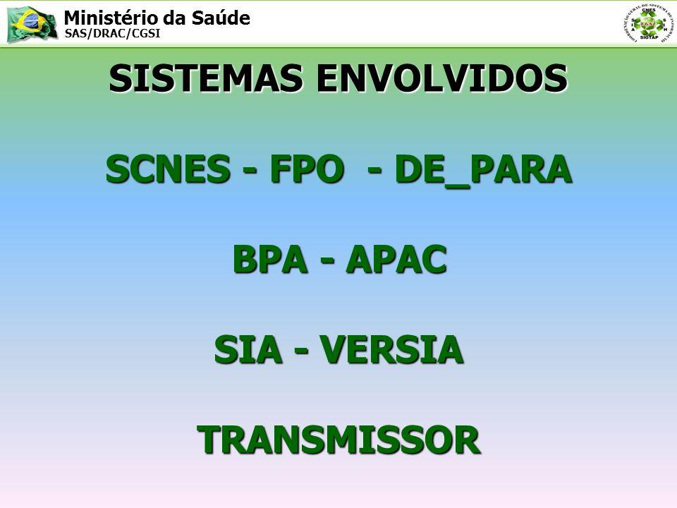 Ministério da Saúde SAS/DRAC/CGSI Pode-se dizer que o SIA/SUS interage de maneira direta com vários sistemas de Apoio/Base a fim de completar o ciclo de processamento de uma competência SIA/SUS