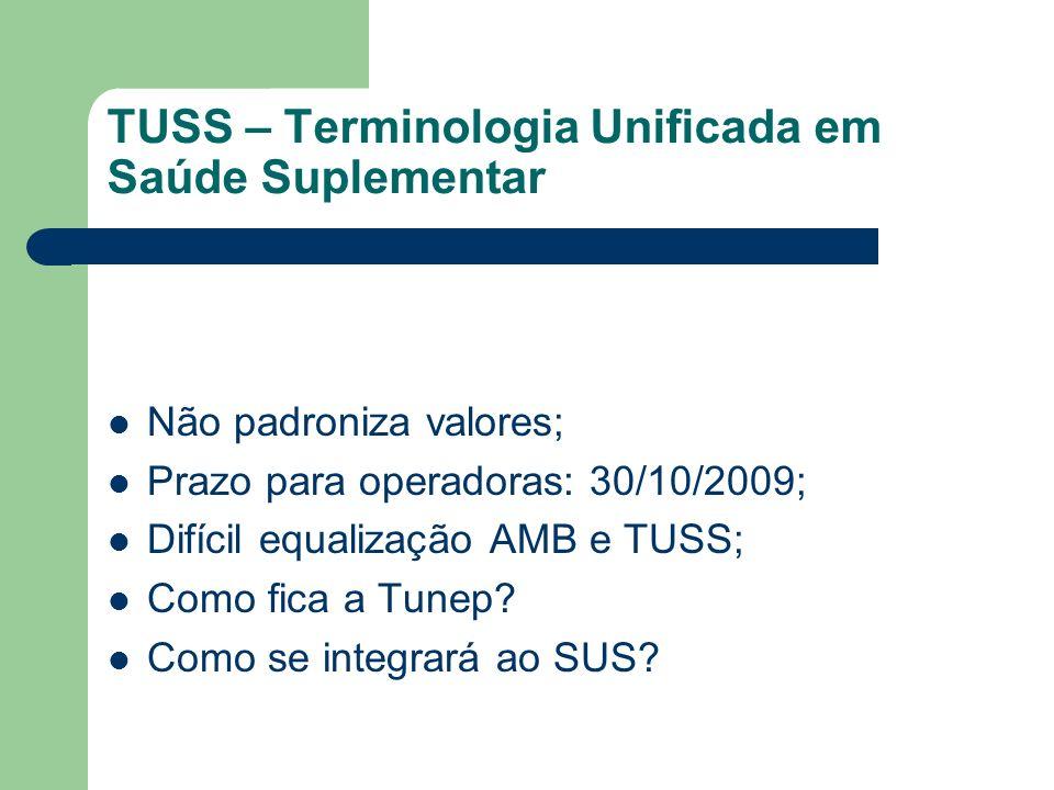 TUSS – Terminologia Unificada em Saúde Suplementar Não padroniza valores; Prazo para operadoras: 30/10/2009; Difícil equalização AMB e TUSS; Como fica