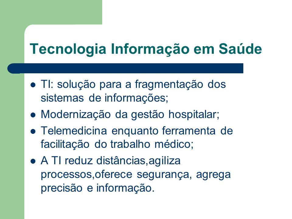 Tecnologia Informação em Saúde TI: solução para a fragmentação dos sistemas de informações; Modernização da gestão hospitalar; Telemedicina enquanto f
