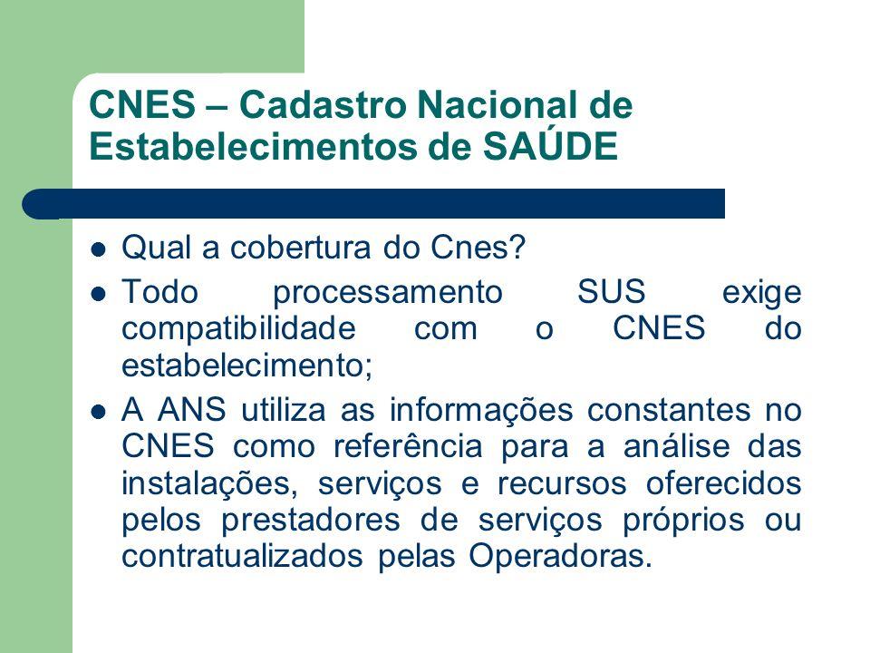 CNES – Cadastro Nacional de Estabelecimentos de SAÚDE Qual a cobertura do Cnes? Todo processamento SUS exige compatibilidade com o CNES do estabelecim