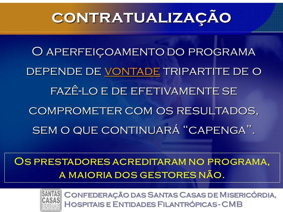 contratualização O aperfeiçoamento do programa depende de vontade tripartite de o fazê-lo e de efetivamentese comprometer com os resultados, sem o que continuará capenga.