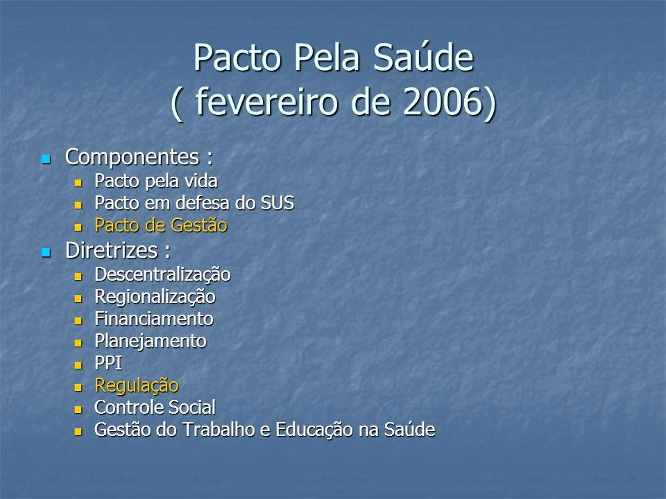 Pacto Pela Saúde ( fevereiro de 2006) Componentes : Componentes : Pacto pela vida Pacto pela vida Pacto em defesa do SUS Pacto em defesa do SUS Pacto de Gestão Pacto de Gestão Diretrizes : Diretrizes : Descentralização Descentralização Regionalização Regionalização Financiamento Financiamento Planejamento Planejamento PPI PPI Regulação Regulação Controle Social Controle Social Gestão do Trabalho e Educação na Saúde Gestão do Trabalho e Educação na Saúde