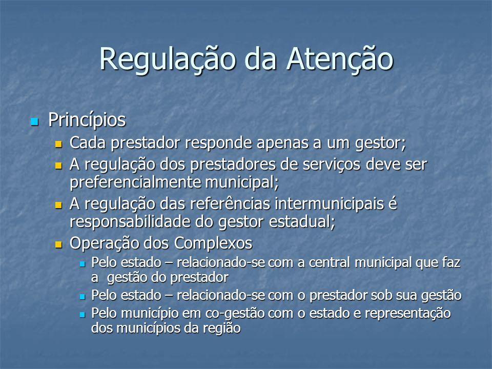 Regulação da Atenção Princípios Princípios Cada prestador responde apenas a um gestor; Cada prestador responde apenas a um gestor; A regulação dos pre