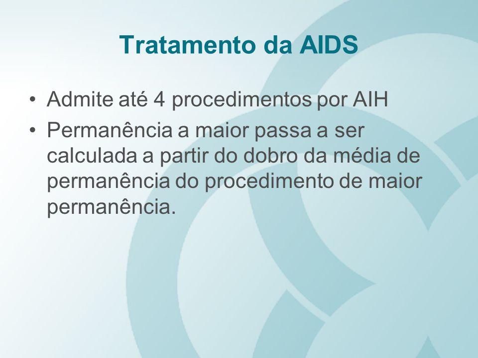 Tratamento da AIDS Admite até 4 procedimentos por AIH Permanência a maior passa a ser calculada a partir do dobro da média de permanência do procedime