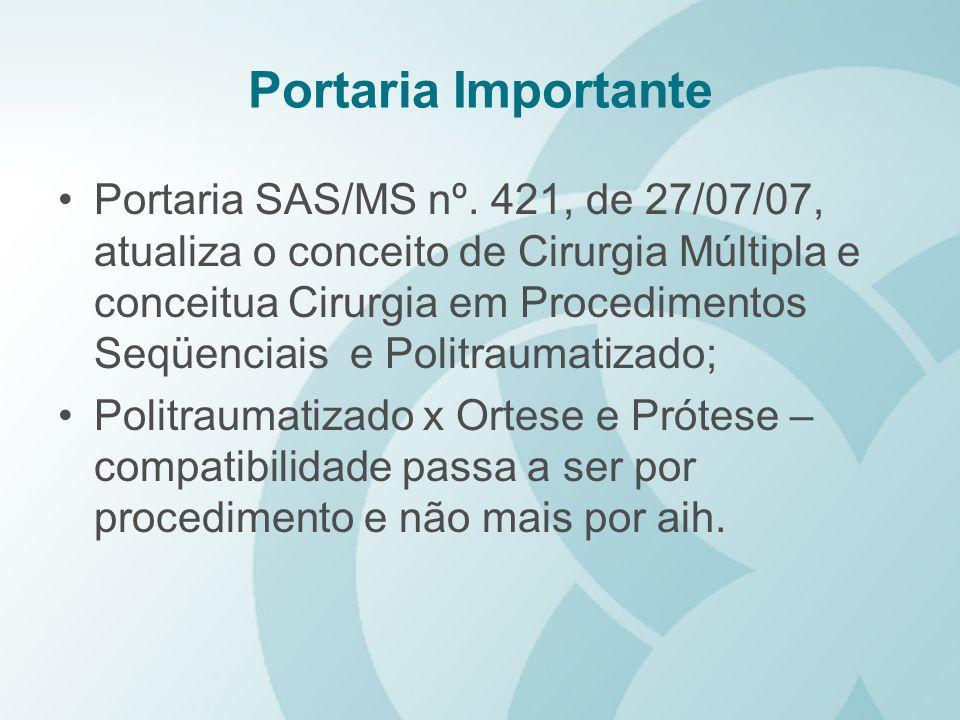 Portaria Importante Portaria SAS/MS nº. 421, de 27/07/07, atualiza o conceito de Cirurgia Múltipla e conceitua Cirurgia em Procedimentos Seqüenciais e