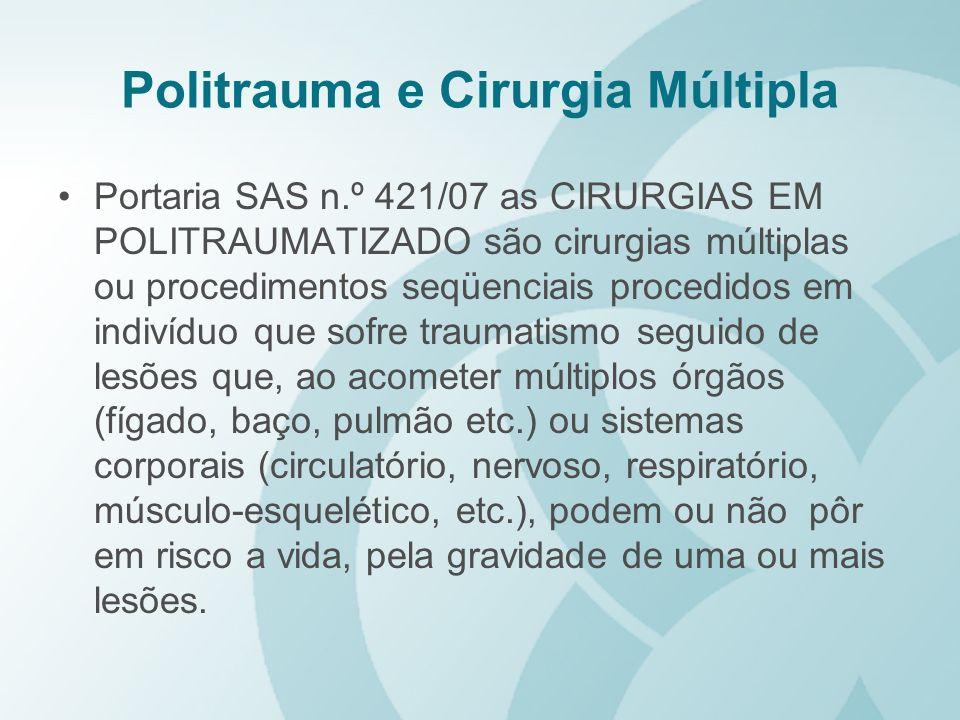 Politrauma e Cirurgia Múltipla Portaria SAS n.º 421/07 as CIRURGIAS EM POLITRAUMATIZADO são cirurgias múltiplas ou procedimentos seqüenciais procedido