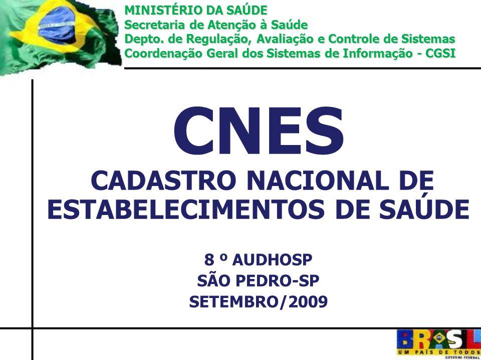 CNES CADASTRO NACIONAL DE ESTABELECIMENTOS DE SAÚDE 8 º AUDHOSP SÃO PEDRO-SP SETEMBRO/2009 MINISTÉRIO DA SAÚDE Secretaria de Atenção à Saúde Depto. de