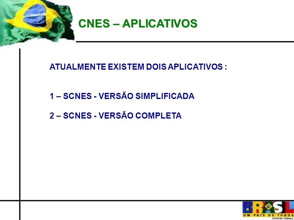 CNES – APLICATIVOS ATUALMENTE EXISTEM DOIS APLICATIVOS : 1 – SCNES - VERSÃO SIMPLIFICADA 2 – SCNES - VERSÃO COMPLETA