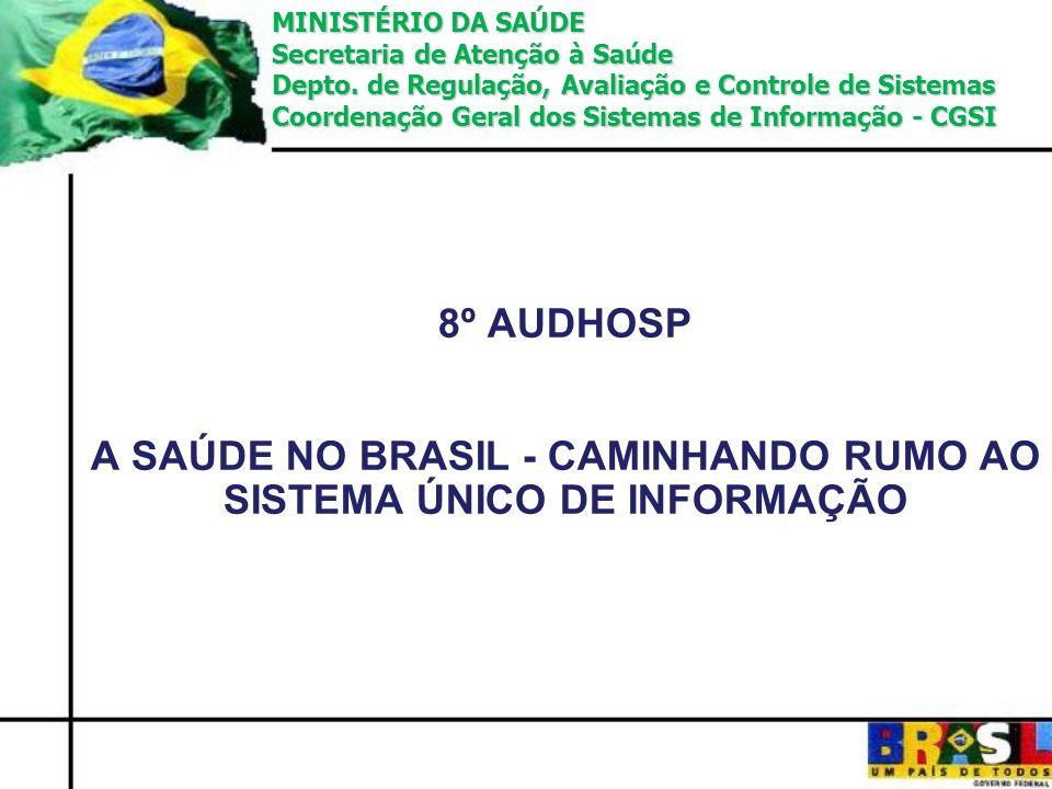 8º AUDHOSP A SAÚDE NO BRASIL - CAMINHANDO RUMO AO SISTEMA ÚNICO DE INFORMAÇÃO MINISTÉRIO DA SAÚDE Secretaria de Atenção à Saúde Depto. de Regulação, A