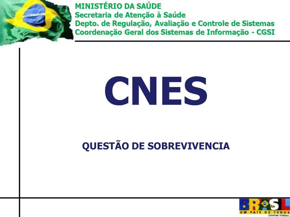 CNES QUESTÃO DE SOBREVIVENCIA MINISTÉRIO DA SAÚDE Secretaria de Atenção à Saúde Depto. de Regulação, Avaliação e Controle de Sistemas Coordenação Gera