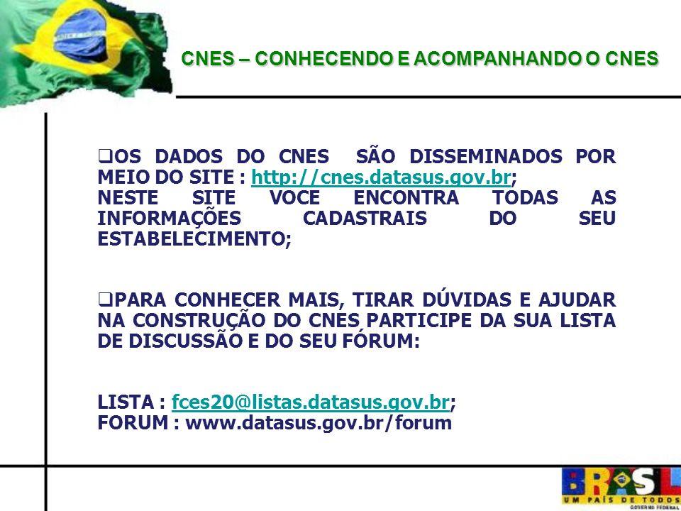 CNES – CONHECENDO E ACOMPANHANDO O CNES OS DADOS DO CNES SÃO DISSEMINADOS POR MEIO DO SITE : http://cnes.datasus.gov.br;http://cnes.datasus.gov.br NES